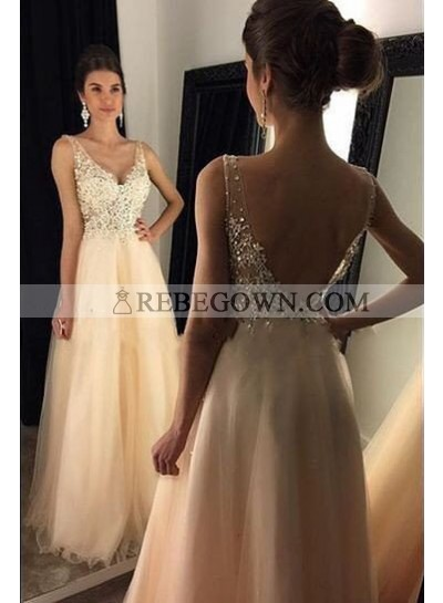 V-Neck Backless Beading A-Line Tulle Champagne Prom Dresses