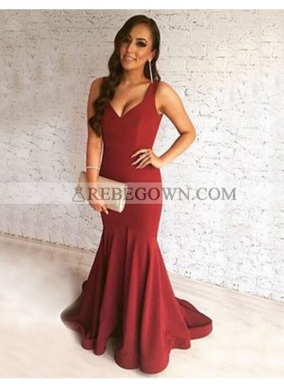 2021 Sexy Trumpet/Mermaid  Sweetheart Burgundy Satin Prom Dresses