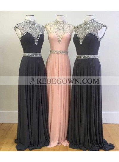 New A-Line Black Chiffon 2020 Prom Dresses