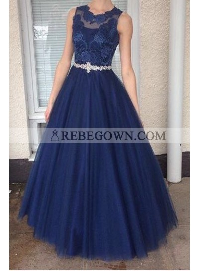 2021 A-Line Tulle Dark Navy Prom Dresses With Appliques