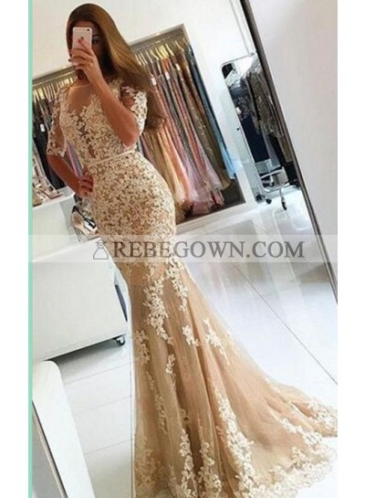 2020 Charming Tulle Trumpet/Mermaid  Prom Dresses With Short Sleeves