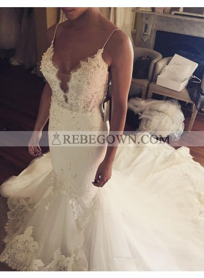 Sexy Mermaid  Sweetheart With Spaghetti Straps Tulle With Appliques Wedding Dresses