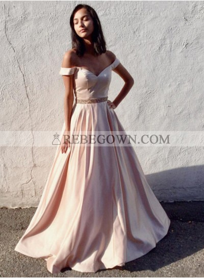 Charming A-Line Satin Off The Shoulder Blushing Pink 2020 Prom Dresses
