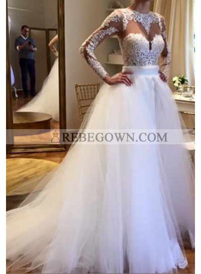 2021 Elegant A Line Long Sleeves Tulle With Appliques Wedding Dresses