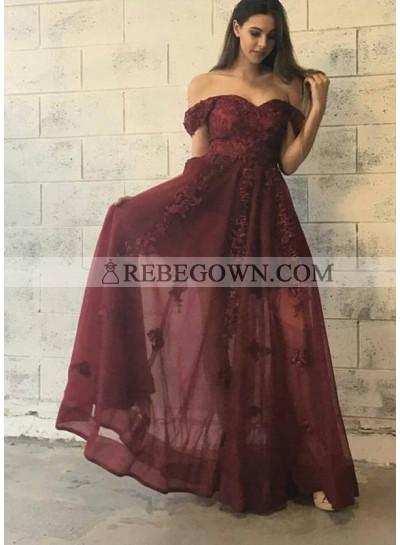 A-Line Burgundy Off The Shoulder 2021 Prom Dresses