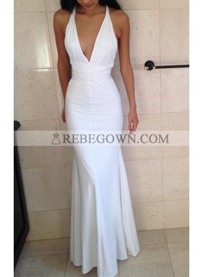 Charming Trumpet/Mermaid  Halter White Satin 2021 Prom Dresses