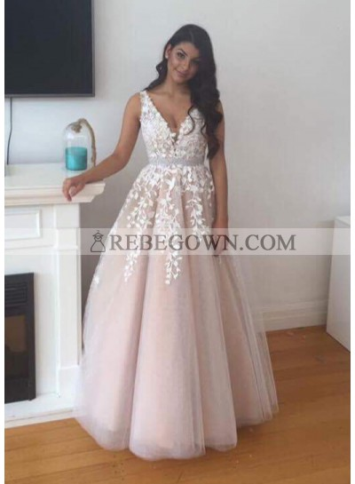 2020 Newly A-Line Tulle Pearl Pink Prom Dresses With Appliques