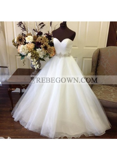 Cheap 2021 A Line Sweetheart Organza With Beaded Belt Wedding Dresses