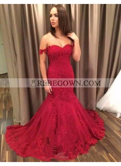 Sexy Trumpet/Mermaid  2020 Sweetheart Red Lace Prom Dresses