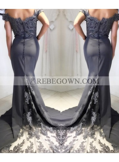 2020 Silver Off The Shoulder Satin Lace Prom Dresses