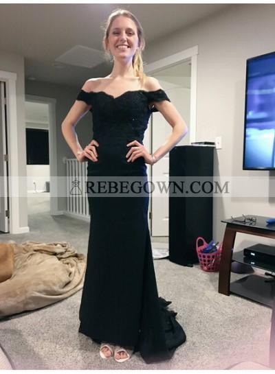 Elegant Sheath Satin Off The Shoulder 2021 Black Prom Dresses