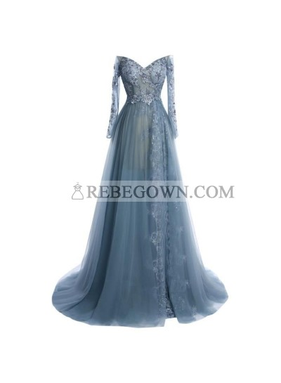A-Line Tulle Long Sleeves Sweetheart 2021 Prom Dresses
