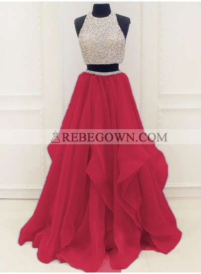 New Arrival A-Line Organza Red Two Pieces 2021 Prom Dresses