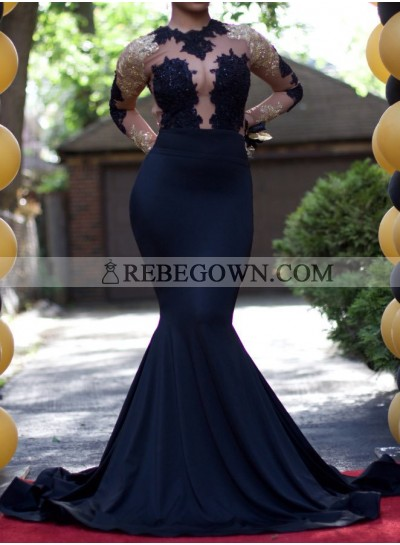 Sexy Dark Navy Long Sleeves 2021 Prom Dresses
