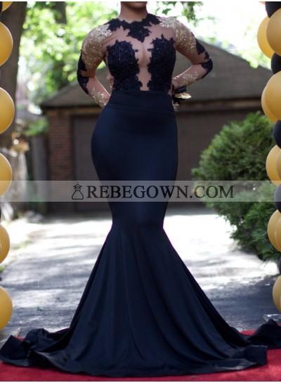 Sexy Dark Navy Long Sleeves 2020 Prom Dresses