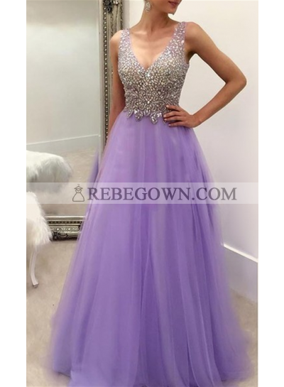 2020 Elegant A-Line Tulle V Neck Beaded Prom Dresses