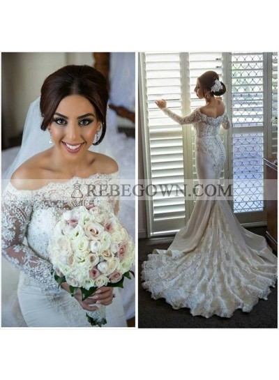 2021 Sexy Mermaid  Off The Shoulder Lace Long Train Wedding Dresses
