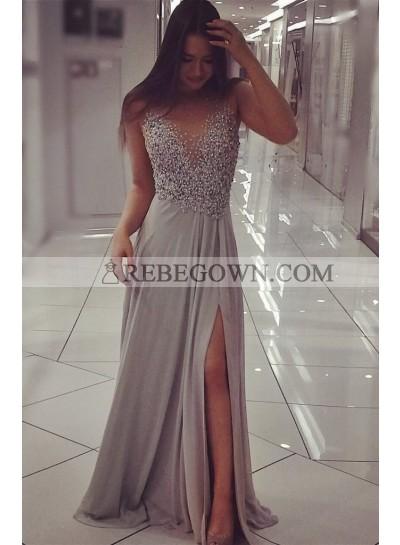 A-Line Chiffon Silver Beaded 2021 Prom Dresses
