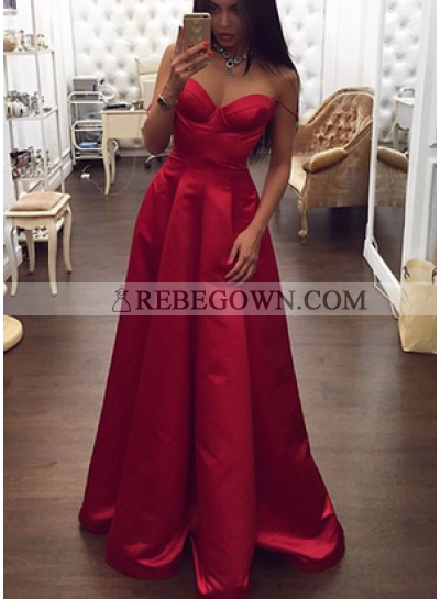 Elegant Sweetheart Satin A-Line Red 2021 Prom Dresses