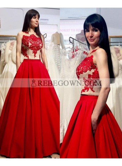 2021 Gorgeous Red Appliques Sleeveless Round Neck A-Line Satin Prom Dresses