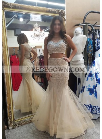 Sexy Trumpet/Mermaid  Ivory Two Pieces 2021 Tulle Prom Dresses