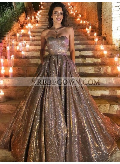 A Line 2021 Champagne Shiny Sweetheart Long Prom Dresses With Pockets