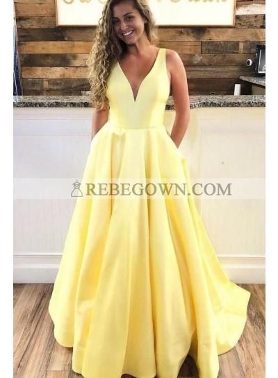 2021 A Line Satin Daffodil V Neck Prom Dresses With Pockets