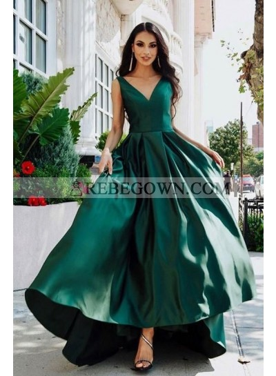 2021 A Line Satin Teal V Neck High Low Long Prom Dresses