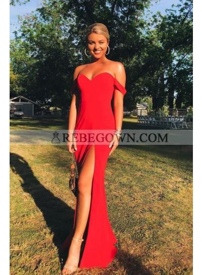 2021 Red Sheath Side Slit Off Shoulder Long Prom Dresses