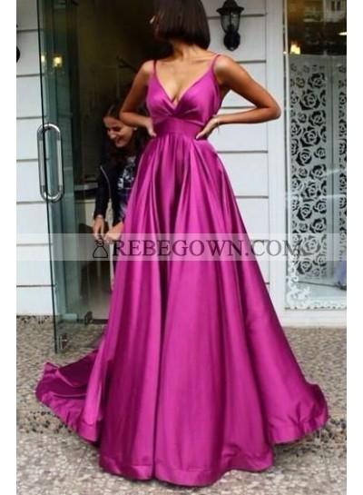 2021 A Line Fuchsia Satin Sweetheart Backless Long Prom Dresses