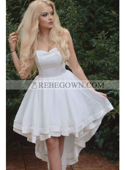 2021 A Line White Sweetheart High Low Satin Short Prom Dresses