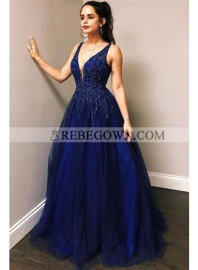 2021 A Line Royal Blue Beaded Tulle V Neck Long Prom Dresses