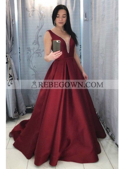 2021 A Line Satin Burgundy Long Train V Neck Beaded Prom Dresses