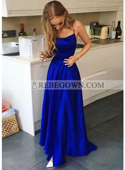 2021 A Line Royal Blue Halter Lace Up Back Side Slit Prom Dresses