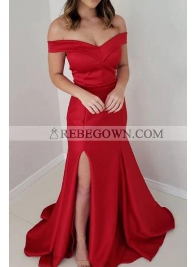 2021 Red Sheath Off Shoulder Side Slit Satin Prom Dresses