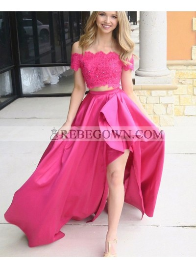 2021 A Line Satin Fuchsia High Low Off Shoulder Beaded Two Pieces Long Prom Dresses