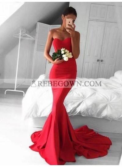 2021 Mermaid Red Satin Strapless Long Prom Dresses