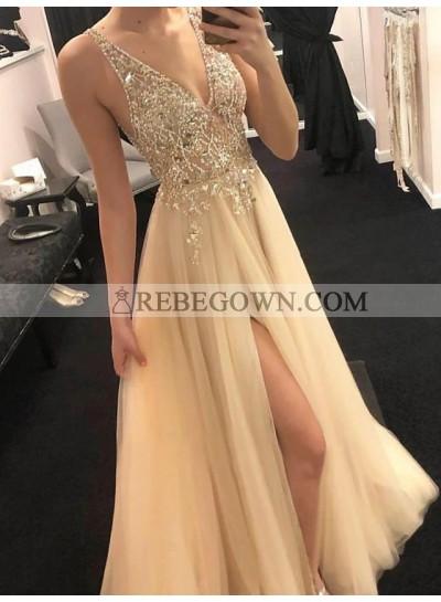 2021 A Line Champagne Tulle Side Slit V Neck Beaded Long Prom Dresses