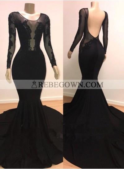 Long Sleeves Black Scoop Appliques Long Mermaid Prom Dresses