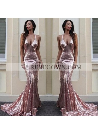 V Neck Sequence Pink Mermaid Long Prom Dresses