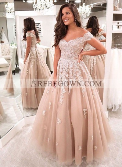 Sweetheart Champagne A Line Off Shoulder Appliques Long Tulle Prom Dresses
