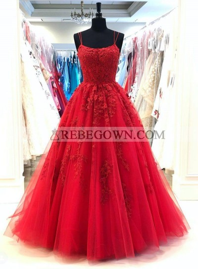 Red Scoop A Line With Appliques Long Tulle Prom Dresses