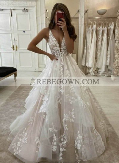 Long Ivory V Neck Tulle With Appliques Prom Dresses