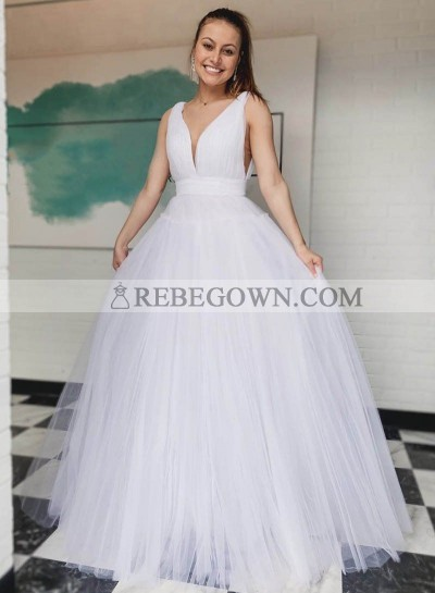Sweetheart White A Line Tulle Long Prom Dresses