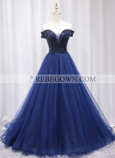 Off Shoulder Long A Line Dark Navy Tulle Prom Dresses