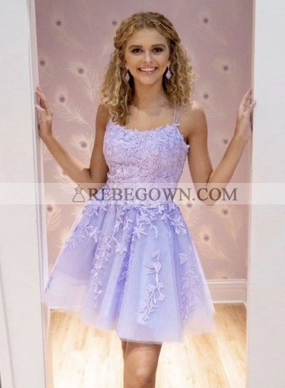 Short Lilac Knee Length Tulle With Appliques Prom Dresses