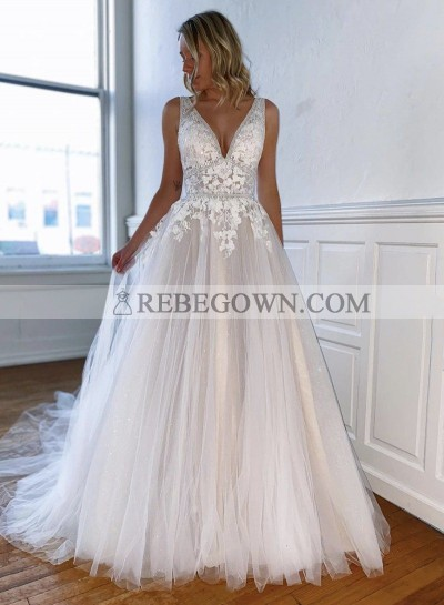 Ivory Lace Sweetheart A Line Beaded Long Backless Prom Dresses