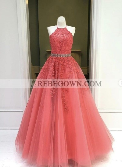Water Melon Halter Long A Line Tulle With Appliques Prom Dresses