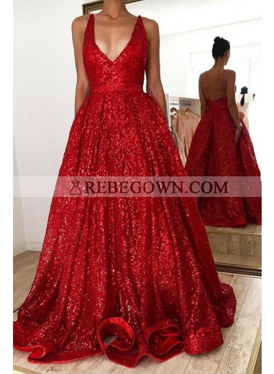 Red V Neck Halter Backless A Line Sequence Long Prom Dresses