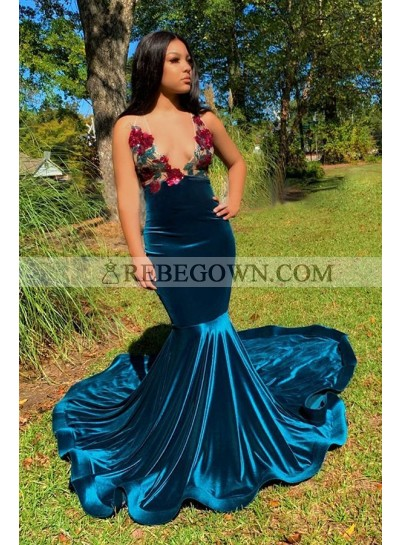Blue Backless Embroidery Mermaid Deep V Neck Prom Dresses